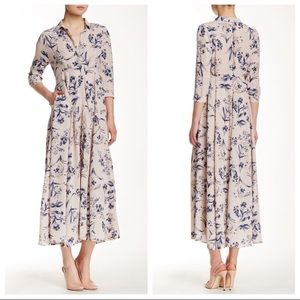 Paper Crane 3/4 Sleeve Floral Maxi Dress w/ Collar